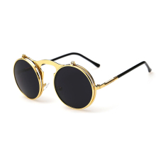Vintage circle frame Unisex double lens Steampunk Sunglasses