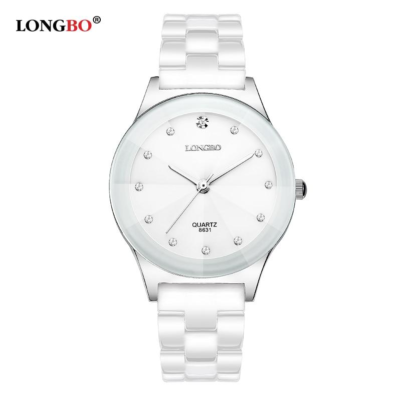 Luxury White Ceramic Water Resistant Classic Easy Read Sports Women Wrist Watch Women's WatchesTop Quality Lady Rhinestone Watch