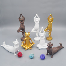 Cute Retro Yoga Cat Home Furnishing Desktop Decorative Resin Craft Black Gold White Cat Yoga Sculpture Creative Ornaments(China)