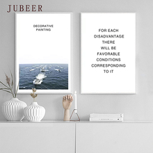 Nordic Decorative Painting Modern Minimalist Canvas Painting Landscape Ship Seaside Quote Poster Decorative Picture