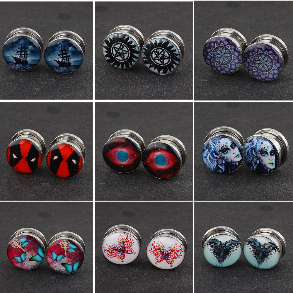 TIANCIFBYJS Earrings Tunnel 00g 2g 0g Surgical Stainless Steel Expander Stretcher Body Piercing Jewelry Ear Gauges Tunnels Plugs