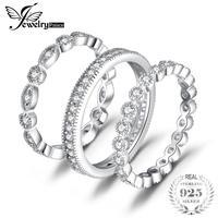 Jewelrypalace модные 2.15ct фианит 3 Вечность Группа Кольца для Для женщин Чистая кольцо стерлингового серебра 925 Мода newes ювелирные изделия