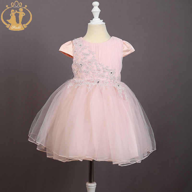 Nimble girls dress Party Flower Appliques Beaded Bow Gown Girls Cloth Princess Party for girl vestido infantil moana robe fille nimble girls dress princess embroidery bow handmade flowers beaded pearls dress elegant lace dress for girl vestidos moana