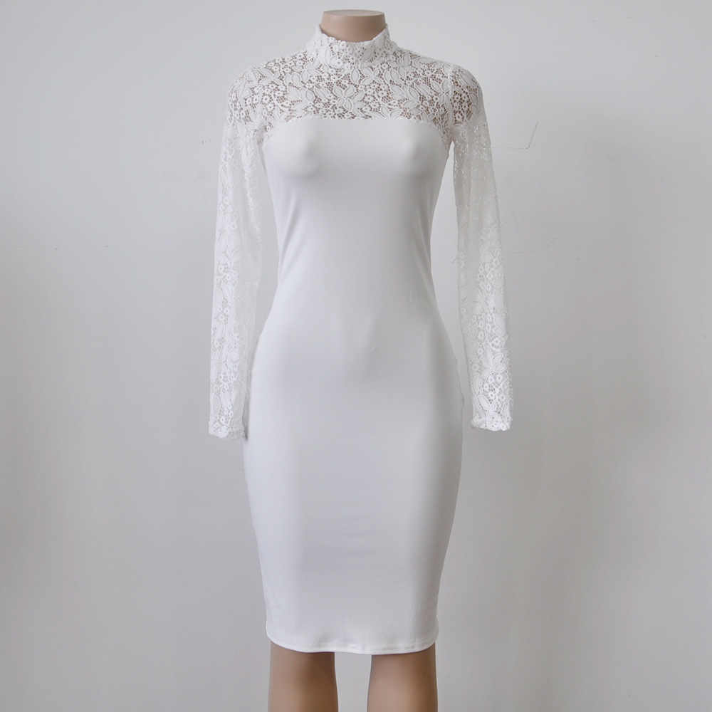 ... Sexy Women White Lace Dress New 2018 Winter Turtleneck Long Sleeve Red  Black Club Factory Bodycon ... 380887251