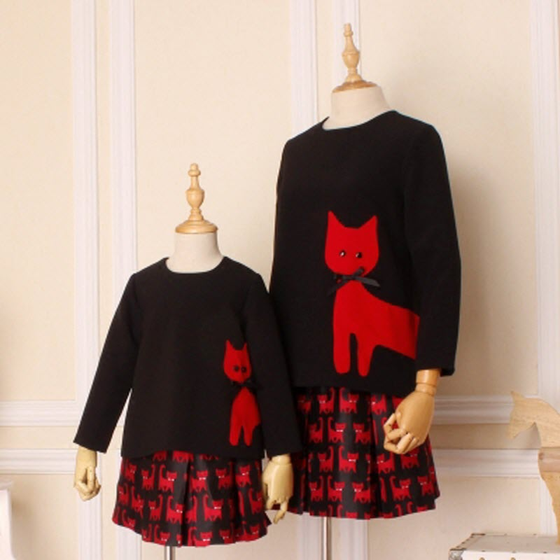Children clothing Mother Daughter Blouse + skirt red cat Child baby Girl princess Women cool family matching clothes mother kids недорго, оригинальная цена