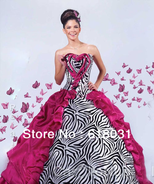Detachable Fashion Trends Strapless 2014 Spring Hot Pink Zebra Printed Sweet 15 Ball Gown Quinceanera Dresses NS Q03 In From Weddings