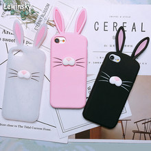 New Creativity 3D Cartoon cute Ear rabbit Silicone phone Case For iphone X 8 7 6 6s plus 5 s SE case Cat beard Soft Rubber Cover(China)