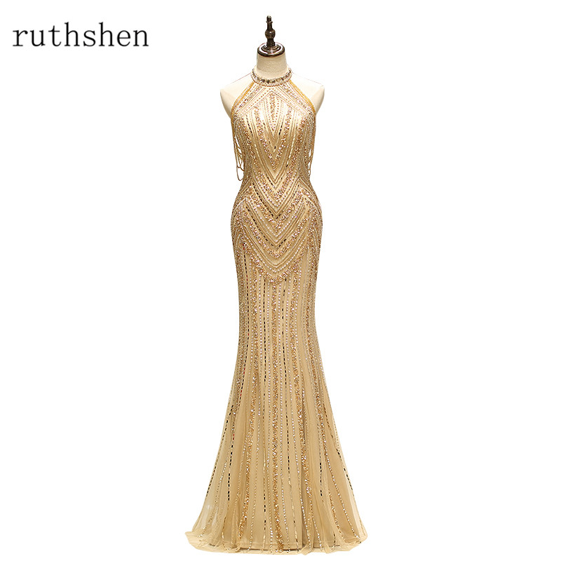 ruthshen 2018 New Mermaid Style Halter Formal   Evening   Gowns Gold Robes De Soiree Beaded   Evening     Dress   Special Occasion   Dresses