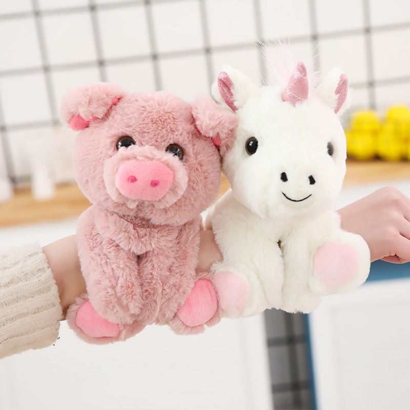Cute Cartoon Animal <font><b>bracelet</b></font> curtain buckle plush toy doll Panda Unicorn <font><b>Dog</b></font> Monkey Raccoon Pig Bear doll Children Xmas gift image