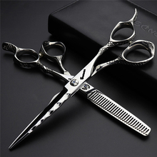 Professional Hair Scissors for Barbershop Japan 440c 6inch Cutting Thinning Shears Hairdressing Haircut Logo Engraving