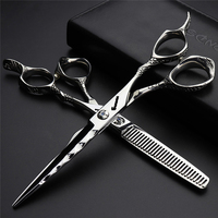 Professional Hair Scissors for Barbershop Japan 440c 6inch Cutting Thinning Shears Hairdressing Haircut Scissors Logo Engraving
