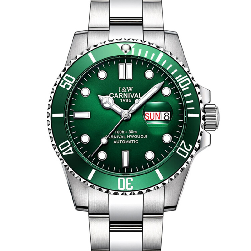 Top Brand Luxury Carnival Watch Men GMT Automatic Mechanical Watches Green Luminous Sapphire Glass Stainless Steel Diving Watch nakzen top brand luxury fashion classic business men stainless steel watch automatic mechanical male sapphire luminous watches