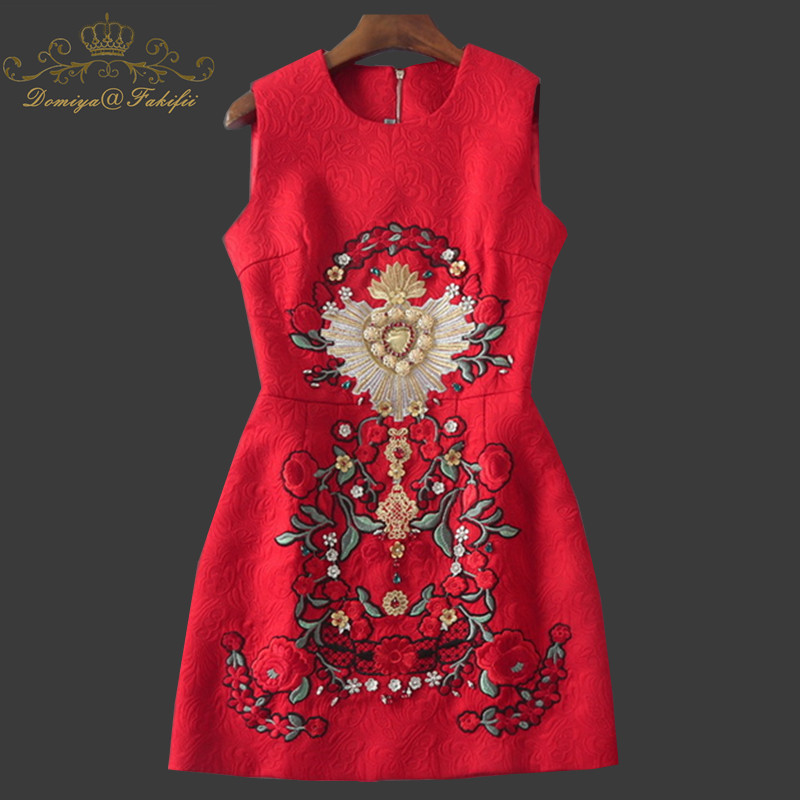 High end Fashion 2018 Runway Dress Women's Sleeveless Vest Beading Diamonds Floral Embroidery jacquard Red Dress Family Clothes women s embroidery bomber jacket 2017 autumn high quality floral printed jacquard black