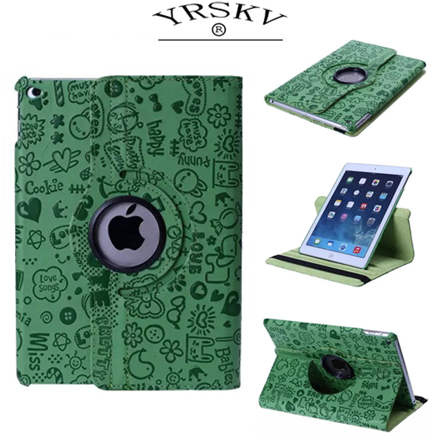 Case for iPad 9.7 2017 2018 release Air 1 2 YRSKV Little Witch PU Leather 360 Rotating Smart Wake up sleep Stand Tablet shell