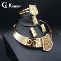 11.11 patrón Único Dubai Mujeres Crystal Collar Pulsera anillo del oído chapado en oro Novia de La Boda Africana Moda Juegos de Joyería