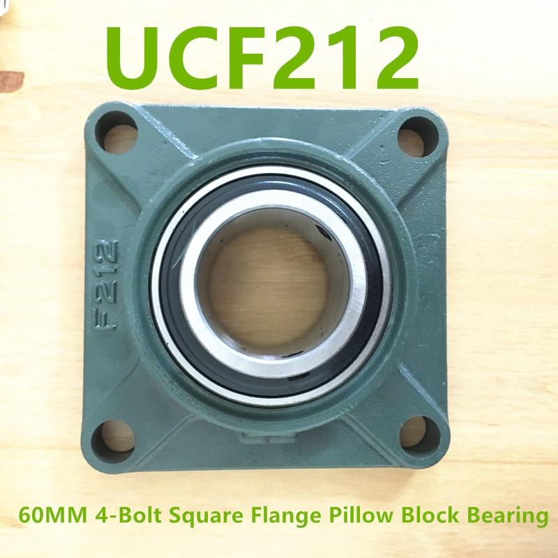 2018 Real Ucf212 Ucf201/202/203/204/205/206/207/208/209/210/211/212 60mm 4-bolt Square Flange Pillow Block Bearing With Housing подшипник сферический шариковый lk ucfc207 208 209 210