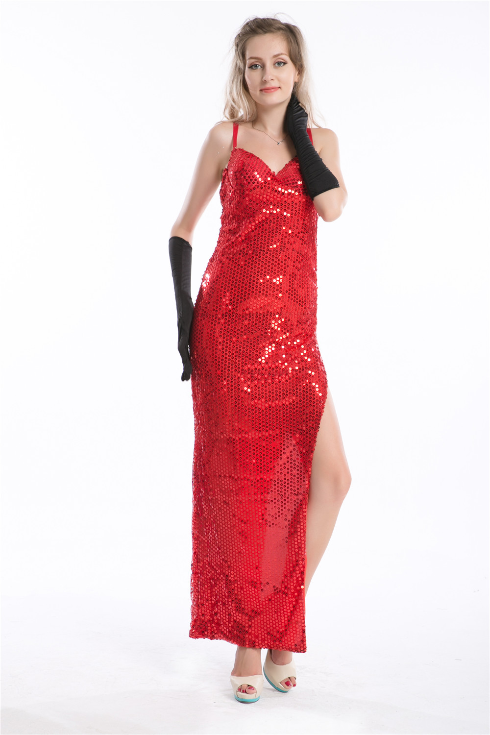 free shipping LADIES 80s JESSICA RABBIT COSTUME LONG RED FANCY DRESS ...