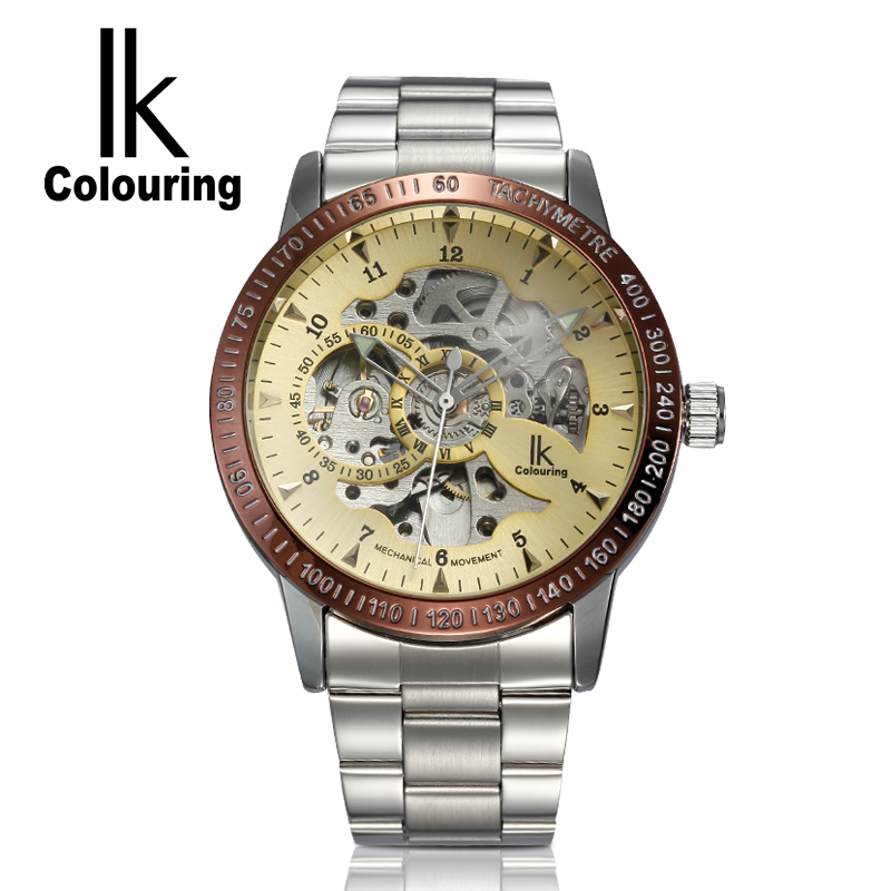 IK Coloring Watch 2017 Men's Allochroic Skeleton Gold Dial Auto Mechanical Wristwatch with Box Free Ship ik colouring men s orologio uomo allochroic glass skeleton auto mechanical watch wristwatches gift box free ship