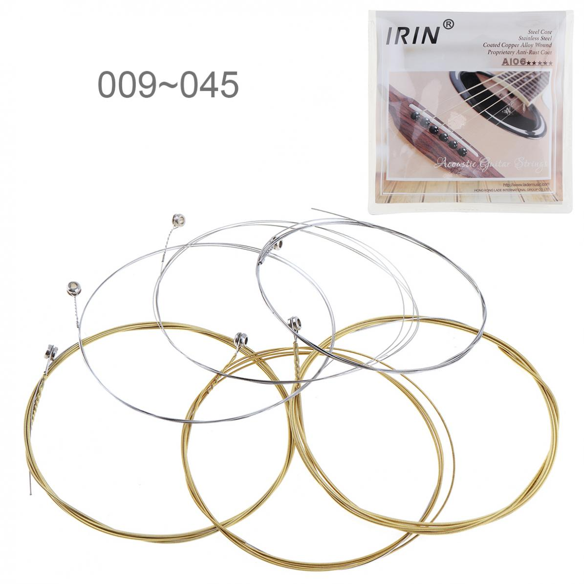 6pcs  Acoustic Flok Guitar String 009-045 Inch Steel Core Coated Copper Alloy  with Proprietary Anti-Rust Coat