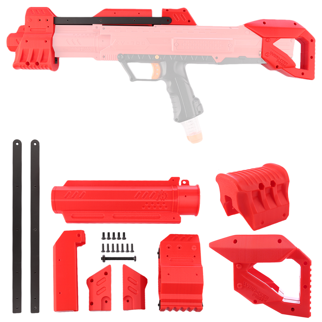 WORKER F10555 3D Printing Front Tube Pull-down Kit + Shoulder Stock for Nerf Rival Apollo XV-700 - Red садовая детская тяпка truper atj kid 10555
