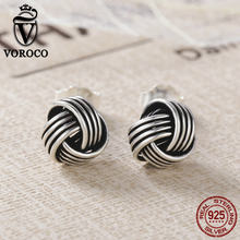 VOROCO Authentic Popular 925 Sterling Silver Weave Classic Push-back Twisted Stud Earring Women Fine Jewelry Brinco VSE011(China)