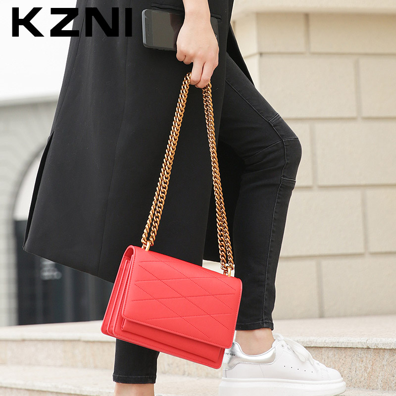 KZNI Genuine Leather Handbag Women Bags for Women 2017 Purses and Handbags Shoulder Bag Female Pochette Bolsa Feminina 9003 kzni real leather tote bag high quality women leather handbags top handle bags purses and handbags bolsa feminina pochette 9057