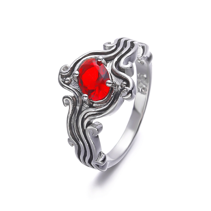 Cute Red Blue Stone Wedding Rings For Women Wave Zircon Cz