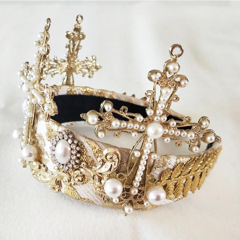 Женская винтажная тиара в стиле барокко золотистая круглая корона