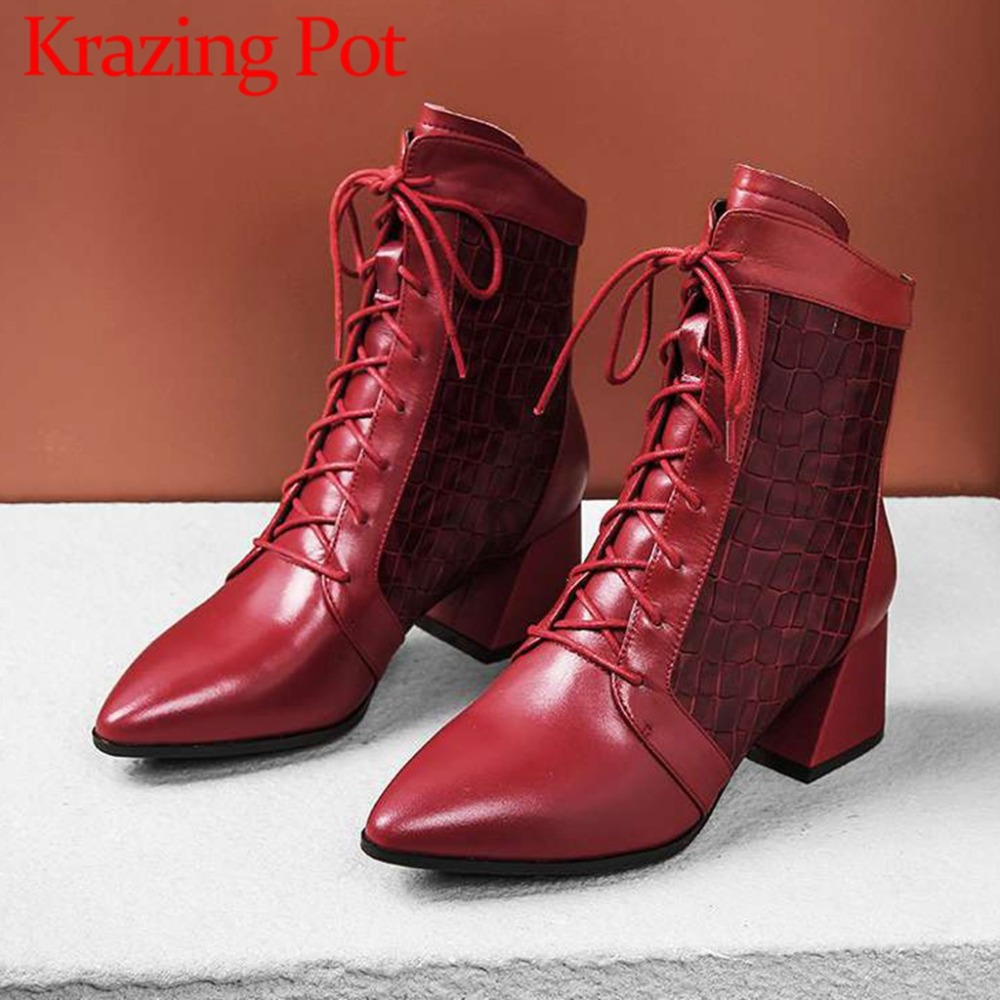 2018 british style oxford pointed toe cow leather solid med heels high fashion big size movie stars winter mid-calf boots L86