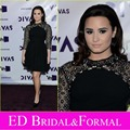 Demi Lovato vestido negro cuello alto manga tres cuartos de la gasa brillantes Red Carpet corto Celebrity vestido de fiesta
