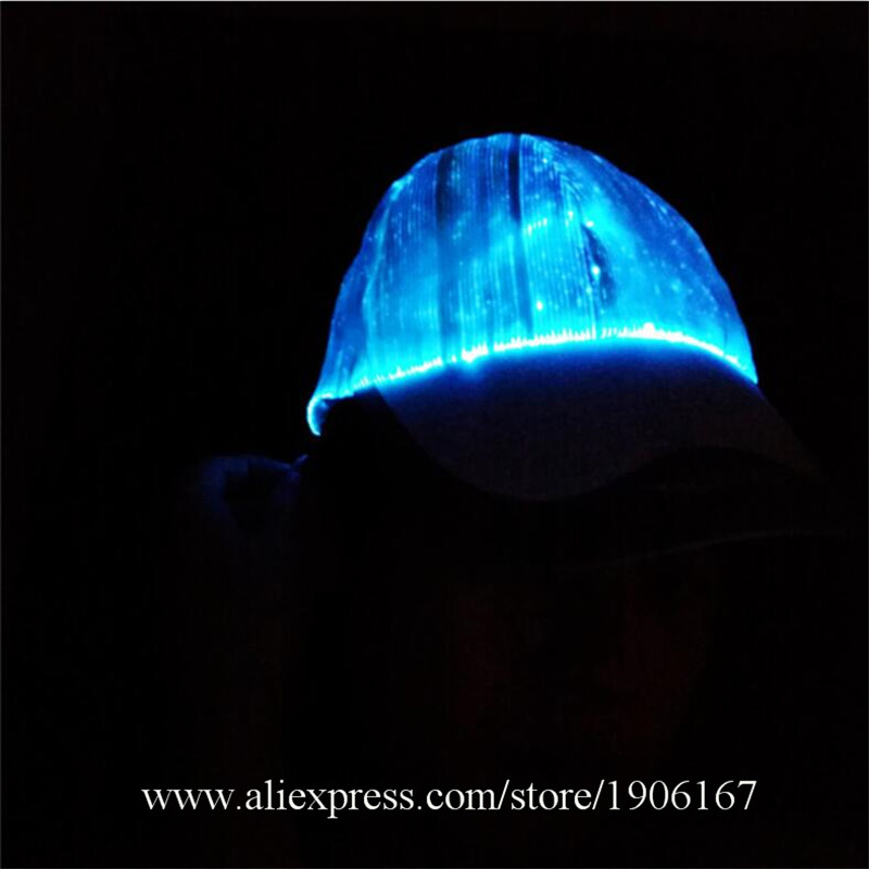 New led fiber 7 color light hat Bar music festival Judi night light hat Fashion light hat06