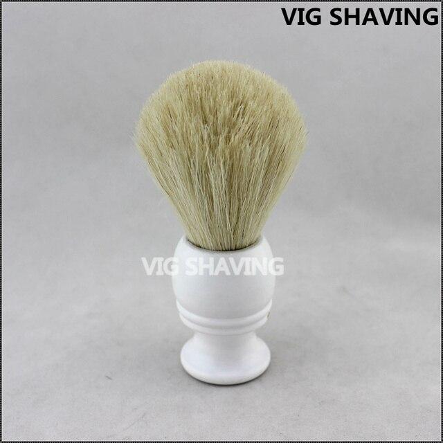 22mm Knot White Wood black handle Horse hair Men Beard Brush