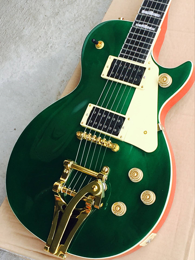 High Quality Green Tiger Flame Maple Gretsch G2420 Electric Guitar with Tremolo gisten high quality oem electric guitar maple fingerboard electric guitar chrome hardware tremolo bridge free shipping