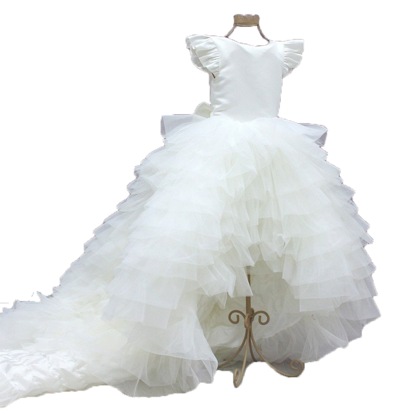 White Evening Ball Gowns for Kids Hi Low Party   Dress   for   Girls   7 years Little Bride   Dresses   2019   Flower     Girl     Dresses   with Train