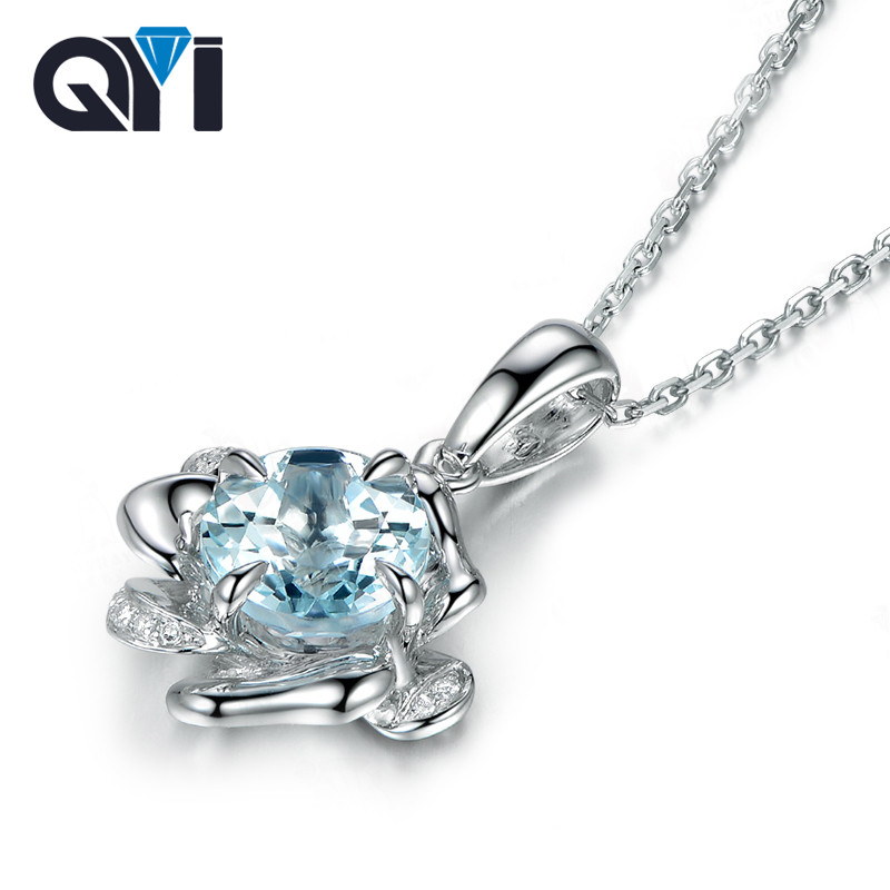 QYI 2 ct Round cut Natural sky Blue Topaz Gemstone Solitaire Pendants Necklaces 925 Sterling Silver Necklaces For Women