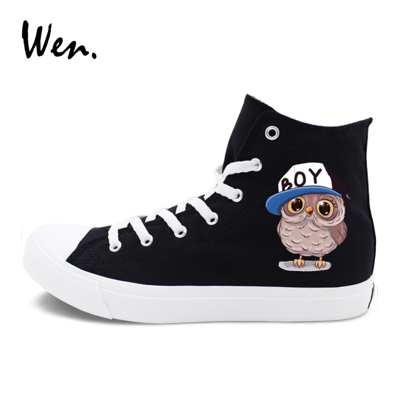 Wen Design Black White Canvas Shoes Cartoon Animal Owl Babies Cap Pink Bow  Tie Unisex Sneakers Skate Shoe High Top Couple Shoes-in Skateboarding from  Sports ... 5855a9bebd2e