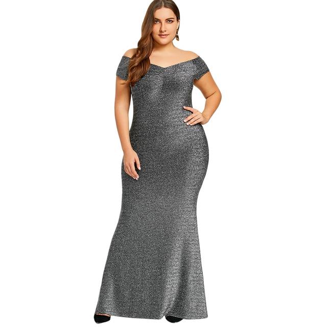 Gamiss Plus Size XL-5XL Off The Shoulder Maxi Party Dress Formal Evening  Bodycon Long Dress Vestidos Elegant Dress Robe Femme 4d57b22ba625