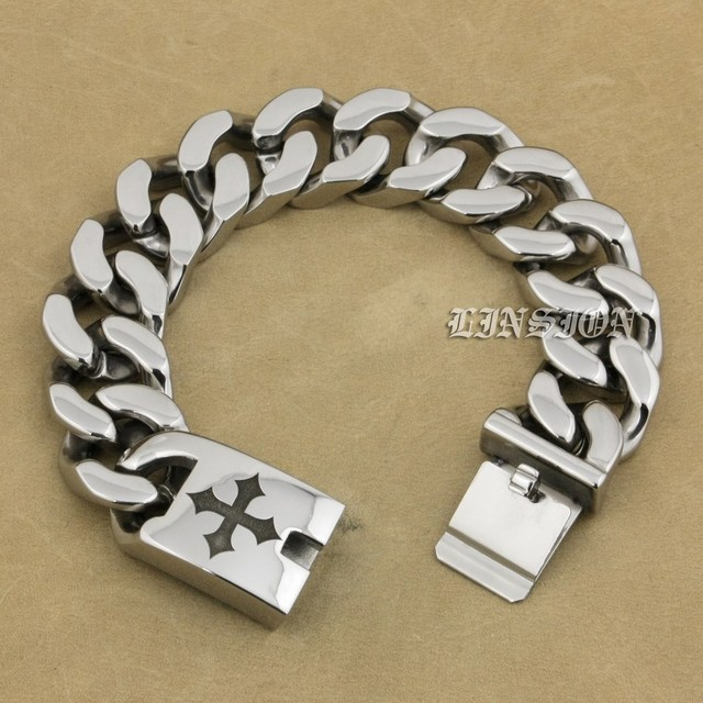 9 Lengths 316L Stainless Steel Deep Engraved Cross Mens Biker Rocker Punk Bracelet Engraving Service 5D306