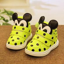 New winter baby shoes children's Leather Shoes Mickey cotton and cashmere soft bottom boys and girls sports shoes1-3 years old