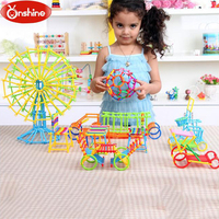 Onshine 800pcs DIY Kindergarten Geometry Plug Building Blocks Toys Educational Assembled Creative Hardcover For Children Gifts