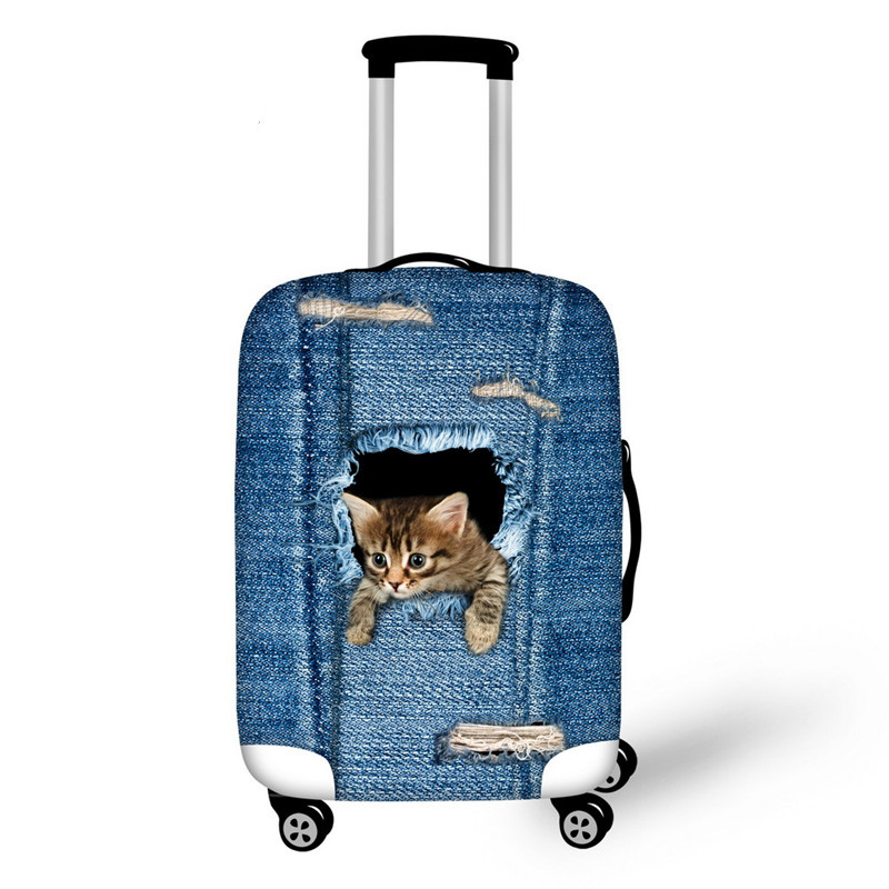 Denim Blue Animal Cat Travel Suitcase Protector Cover 3D Dog Luggage Covers For 18-28 Inch Travel Case Elastic Thick