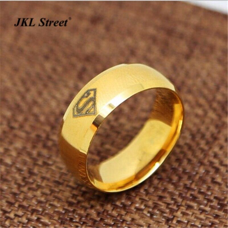 JKL лазер DC Comics Супермен обручальное кольцо 8 мм Нержавеющаясталь Золотой Логотип S кольцо роль в кино гладкой поверхности кольца размер 6-14