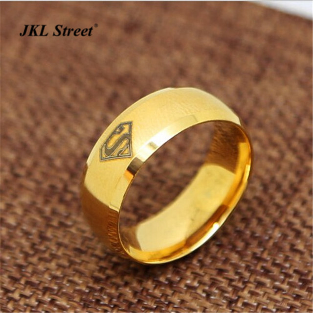 jkl dc laser comics superman wedding ring 8mm stainless steel golden logo s band ring movie - Superman Wedding Ring
