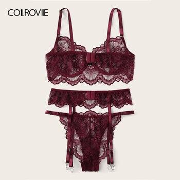 COLROVIE Burgundy Floral Lace Garter Sexy Lingerie Set Women Intimates 2019 Underwire Transparent Bra And Thongs Underwear Set 2