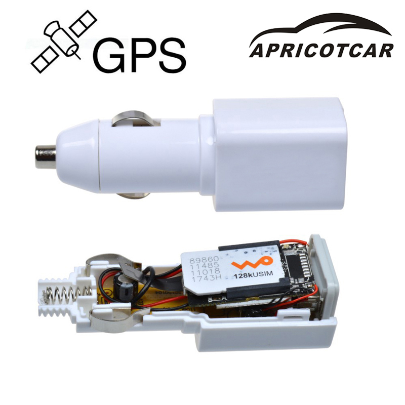 APRICOTCAR Mini Real Time GPS Tracker GSM GPRS Vehicle Tracking Automotive Equipment USB Car Charger Travel Portable Positioner