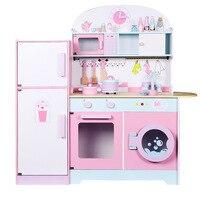 Дети холодильник Кухня s Деревянный игрушки для игрушечной кухни розовый цвет дети ролевые игры игрушечные лошадки Образование обучения иг