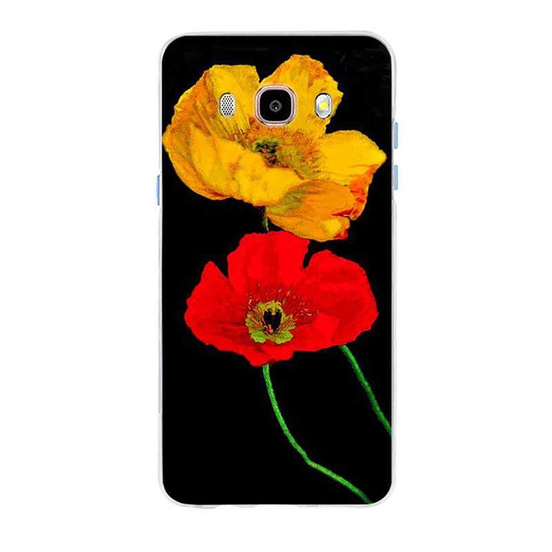 レッドポピー上カバーソフトシリコン TPU 電話ケース三星銀河 S6 S6edge S6Plus A7 S7edge S8 S9 プラス a5 J2 J5 J7 2016
