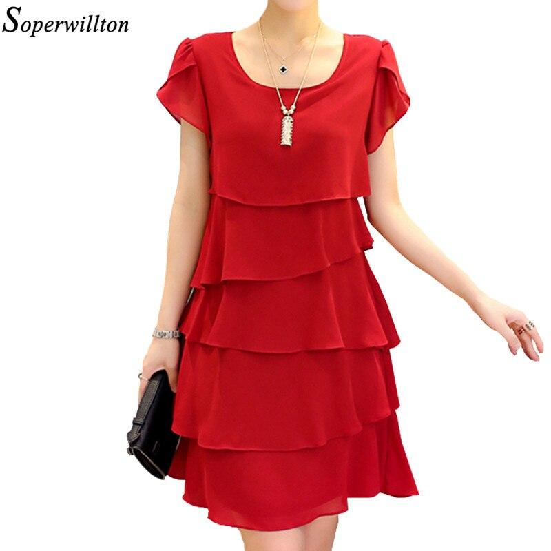 Summer Short Dress 2019 Women Plus Size 5XL Elegant Ladies Dresses Chiffon Ruffle Cocktail Party Vestido Lady Black Red Pink J1