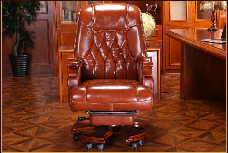 Купить с кэшбэком Leather boss chair massage reclining office chair home computer chair swivel chair leather chair.
