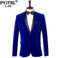 PYJTRL erkek sonbahar kış klasik şal yaka kraliyet mavi kadife düğün damat takım elbise ceket eğlence Blazer Masculino Slim Fit
